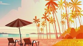 Strand för havskust med solstolar på för sjösidalandskap för solnedgång härligt begrepp för semester för sommar stock illustrationer