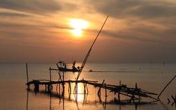 Strand för havslandskapsoluppgång Arkivfoto