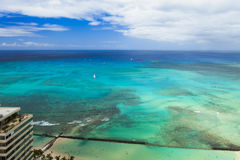 Strand för Hawaii oahu honululuwaikiki, havsikt Arkivbild
