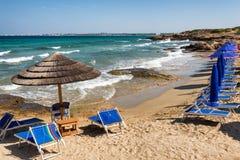 Strand för Punta dellasuina av Gallipoli i Salento, Puglia, Italien Royaltyfria Bilder