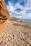 Strand för Sa Caleta i Ibiza Arkivbild