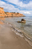 Strand för Sa Caleta i Ibiza Royaltyfria Bilder