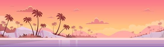 Strand för sand för kust för hav för solnedgång för sommarsemester vektor illustrationer