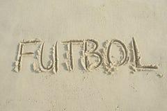 Strand för sand för meddelande för Futbol handskriven fotbollfotboll royaltyfria foton