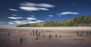 Strand för St Cyrus i Aberdeenshire, Skottland Royaltyfri Bild