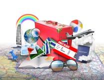 Strand-Ferien-Reisen-Koffer-Ikonen stock abbildung