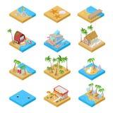 Strand-Ferien-Sammlung mit Bungalow-, Boots-und Palmen Tropische Rücksortierung Isometrische flache Illustration 3d lizenzfreie abbildung