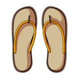 Strand Flip Flops Sommar vilar den enkla symbolen i illustration för materiel för symbol för tecknad filmstilvektor royaltyfri illustrationer