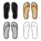 Strand Flip Flops Sommar vilar den enkla symbolen i illustration för materiel för symbol för tecknad filmstilvektor stock illustrationer