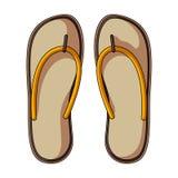Strand Flip Flops Sommar vilar den enkla symbolen i tecknad filmstilrateren, illustration för bitmapsymbolmateriel stock illustrationer