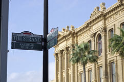 The Strand: Galveston Island, Texas. Street sign of the Strand in historical Galveston Island, Texas Stock Photo