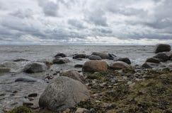 Strand golvende Oostzee met keien Stock Afbeeldingen