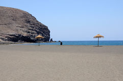 Strand in Gran Tarajal, Fuerteventura, Spanje Royalty-vrije Stock Afbeeldingen