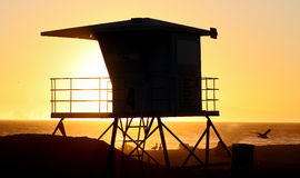 Strand-Hütte-Schattenbild Lizenzfreies Stockfoto