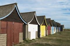 Strand-Hütten bei Mablethorpe Stockfoto