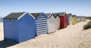 Strand-Hütten bei Southwold, Suffolk, Großbritannien Stockbild