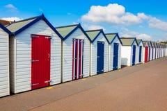 Strand-Hütten Preston Sands Devon Lizenzfreies Stockbild