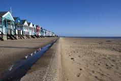 Strand-Hütten, Southwold, Suffolk, England stockfotografie