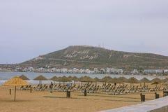 Strand-Hafen von Agadir in Marokko stockfotos