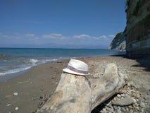 Strand in het eiland Middellandse Zee van Korfu Stock Fotografie
