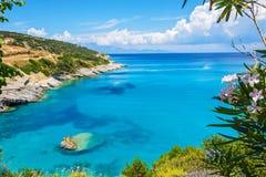 Strand Higia-grauwasserstoffquellen Zakynthos Stockbilder
