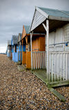 Strand-Hütten im Winter Stockbilder