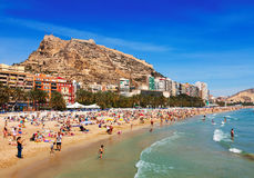 Strand i Alicante, Spanien Arkivfoto