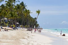 Strand i Bavaro, Dominikanska republiken Royaltyfri Fotografi