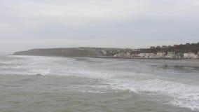 Strand i Boulogne-sur-Mer, Frankrike lager videofilmer