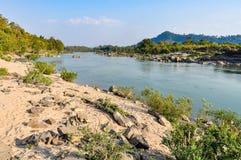 Strand i Don Kone, 4000 öar, Laos Royaltyfria Foton