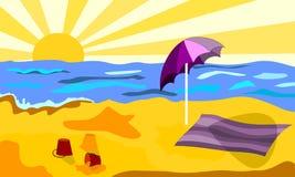Strand i en solig dag Arkivfoto