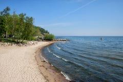 Strand i Gdynia Orlowo i Polen Fotografering för Bildbyråer