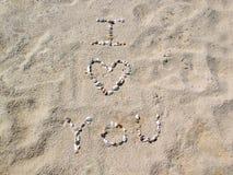 Strand I houdt van u Stock Foto's