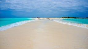 Strand i karibiskt med en sandbana Arkivbild