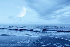Strand i natten Arkivbild