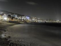 Strand i natten Arkivfoto