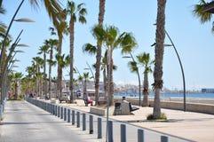 Strand i söderna av Spanien Sand, hav och himmel Utan folk Arkivbilder