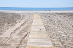 Strand i söderna av Spanien Sand, hav och himmel Utan folk Royaltyfri Foto
