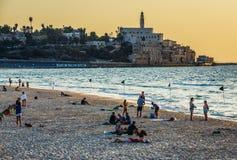 Strand i Tel Aviv Arkivfoto