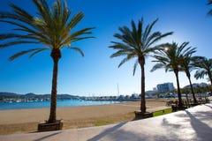 Strand Ibiza San Antonio Abad de Portmany in balearischem Lizenzfreie Stockfotos