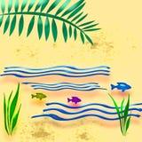 strand illustrerad semester Fotografering för Bildbyråer