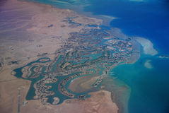 Strand im Ägypten-Flugzeug lizenzfreie stockfotografie