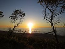 Strand-Küste während des Sonnenuntergangs mit Kiefern und Wellenbrechern lizenzfreie stockfotografie