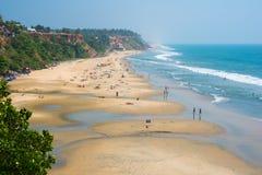 Strand in Kerala - hoofdstrand van Varkala Royalty-vrije Stock Afbeelding