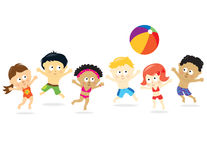 Strand-Kinder - multi ethnisches Stockfotos