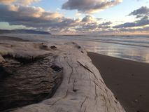 Strand Kiwanda Oregon mit Klotz und herrlichem Sonnenuntergang lizenzfreies stockfoto