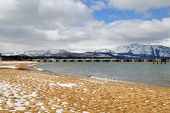 Strand, Lake Tahoe, Winter Stockfoto