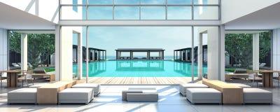 Strand-Landhaus Dinning-Raum der Wiedergabe-3D Lizenzfreie Stockfotos
