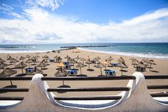 Strand in Las Amerika, Tenerife, Canarische Eilanden, Spanje Royalty-vrije Stock Foto