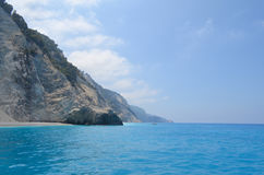 Strand, Llefkada, Griekenland Stock Foto's